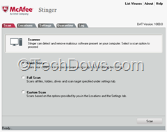 McAfee Stinger version 11 interface
