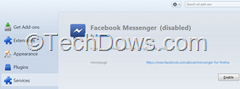 Facebook messenger in Services tab