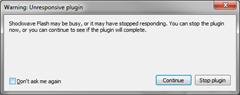 Plugin Hang UI showing unresponsive warning dialog in Firefox 20