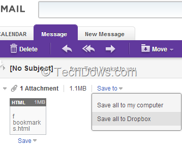 Yahoo mail attachments