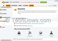 Avast Free AV with SecureLine Installed but not activated