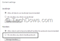 Chrome handlers in Content Settings