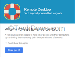 Google Plus Hangouts Remote Desktop App