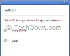 manage rich notification permissions for apps and extensions