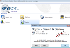 spybot 2.1 free edition ui