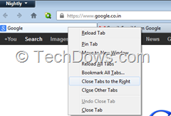 Firefox 24 with Close tabs to the right tab context menu item