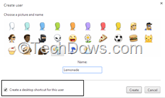 Google Chrome create user dialog