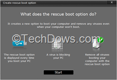 creare rescue boot option