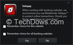 Bitdefender Safepay pop up