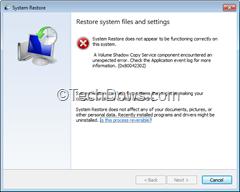 System Restore error