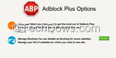 Adblock Plus for IE Options
