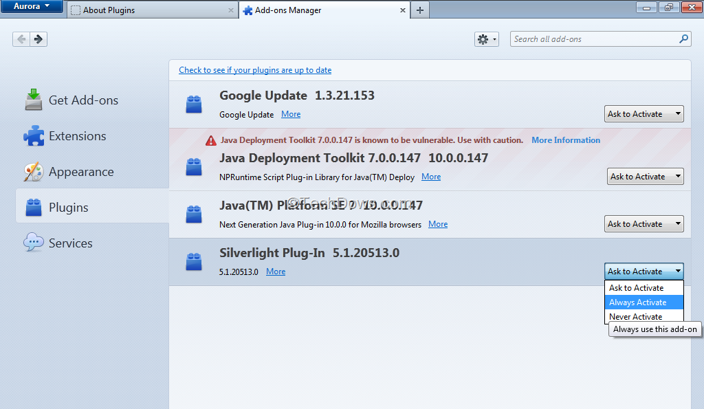 """Firefox 26+: How to Set a Particular Plugin to """"Always Activate"""" or"""