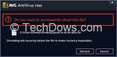 "confirm warning thumb AVG 2014: How to Remove ""Permanently Shred with AVG"" Option from Context Menu"