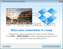 enabling screenshot to Dropbox