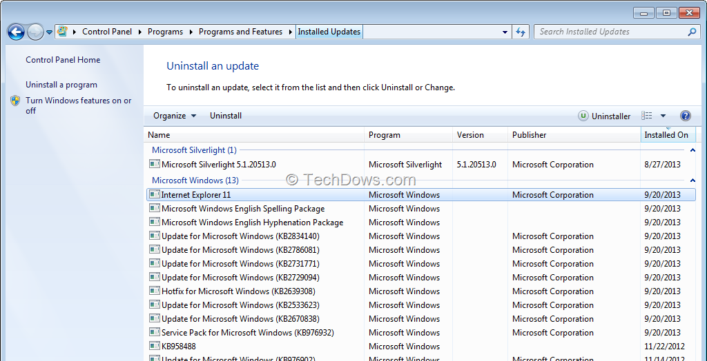 ie update version for windows 7