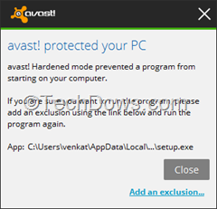 Avast hardened mode popup