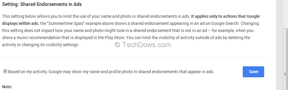 setting for Google shared endorsements in ads
