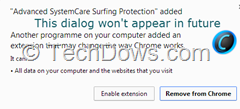 Chrome alerts for silently installed extension on Windows