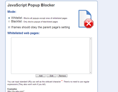 JavaScript Popup blocker options