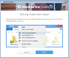 MediaFire Desktop context menu sharing options