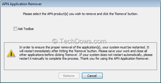 Java Installed Ask toolbar and TBNotifier.exe can be easily Removed