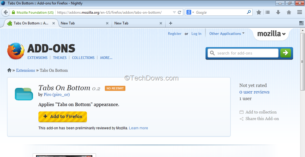 Get Tabs to Bottom in Firefox Australis