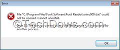 Foxit Reader Uninstall error