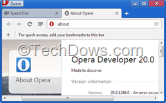 Opera 20 developer