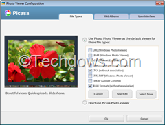 Picasa Photo Viewer configuration