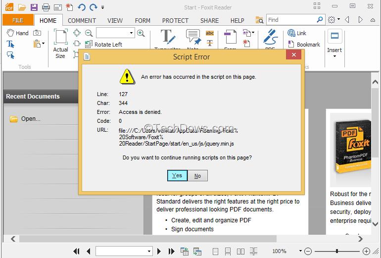 How to Fix Foxit Reader's Script Error in Windows 8 1