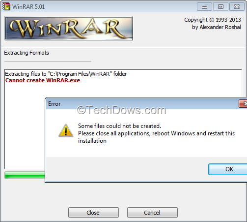 Fix 'Cannot create WinRAR exe', Error 'Some files Could not