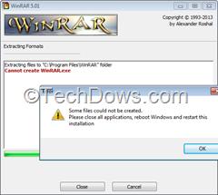 WinRAR install error