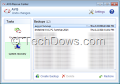 AVG Rescue Center backups in System Recovery