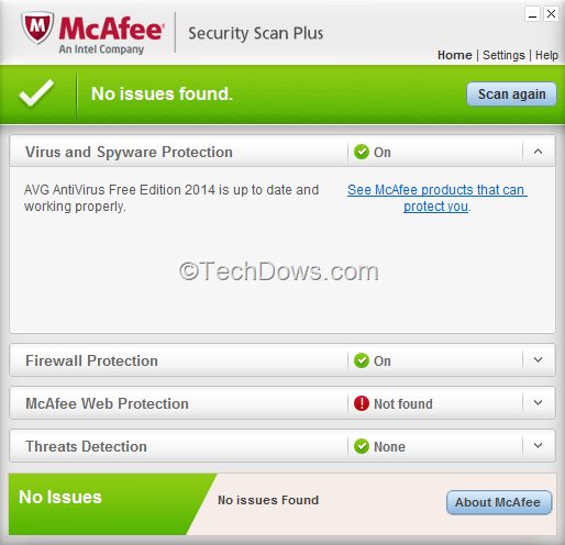 Mcafee security scan download.
