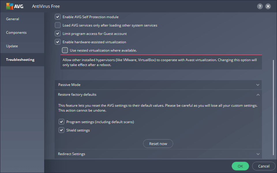 Restoring AVG Default Settings