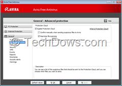 Protection Cloud option in Avira Free Antivirus Settings
