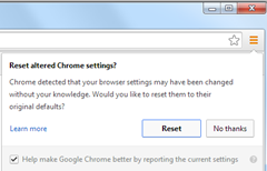 Reset Chrome Settings Prompt