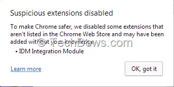 Fix Chrome's 'Suspicious extensions disabled'