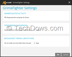 Avast GrimeFighter settings