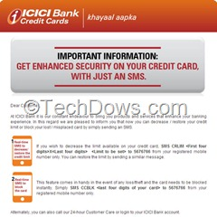 ICICI CC blocking SMS