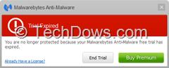 Malwarebytes Trial expired popup