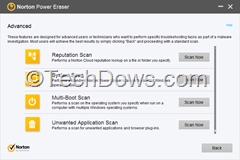Norton Power Eraser Advanced Features