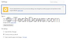 Chrome automatic settings Reset box