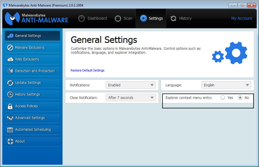 Malwarebytes Explorer Context Menu Entry setting