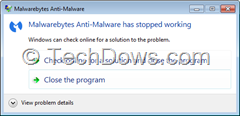 Malwarebytes stoppped working  error dialog