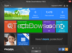 Panda cloud Antivirus free 3 UI
