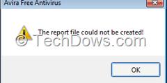 Avira report creation error