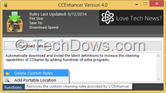 CCEnhancer remove custom cleaning rules added to CCleaner