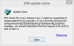IDM update notice