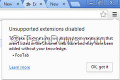 Chrome unsupported extensions disabled notification